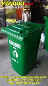 tong sampah fiber beroda, jual tempat sampah beroda, harga tempat sampah roda 120 liter