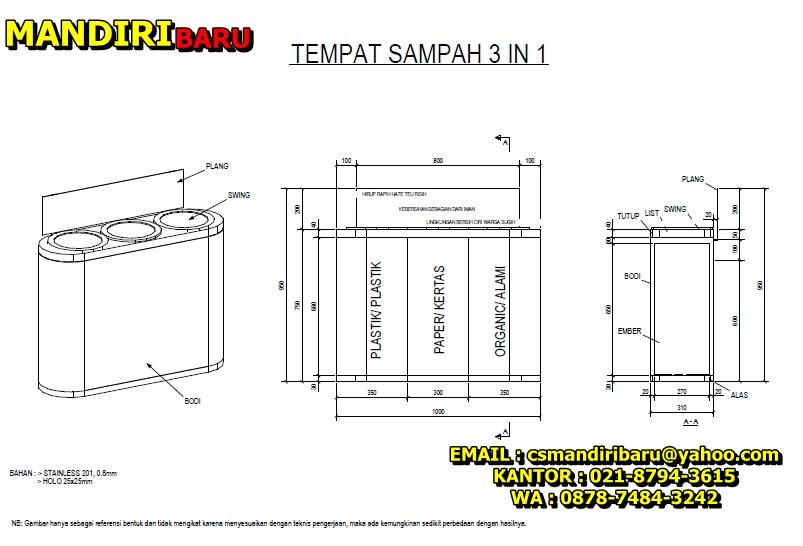 JUAL TEMPAT SAMPAH STAINLESS desain unik , ahrga tempat sampah stainless murah , tong sampah stainless 3 in 1