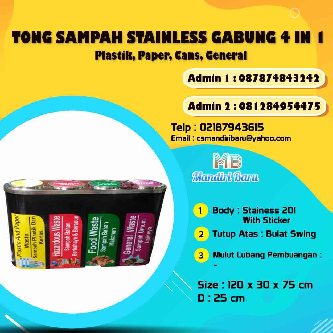 harga tong sampah stainless gabung, jual tempat sampah stainless di Bogor, Tong sampah stainless,