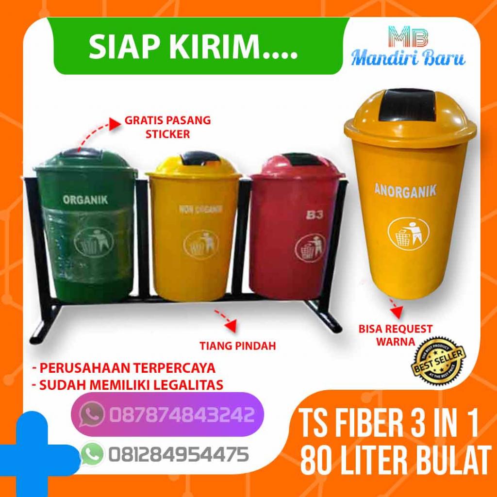 jual tong sampah fiber 3 warna organik anorganik b3, harga tempat sampah fiber 3 in 1 organik non organik b3, pabrik tempat sampah 3 pilah warna organik nonorganik b3,